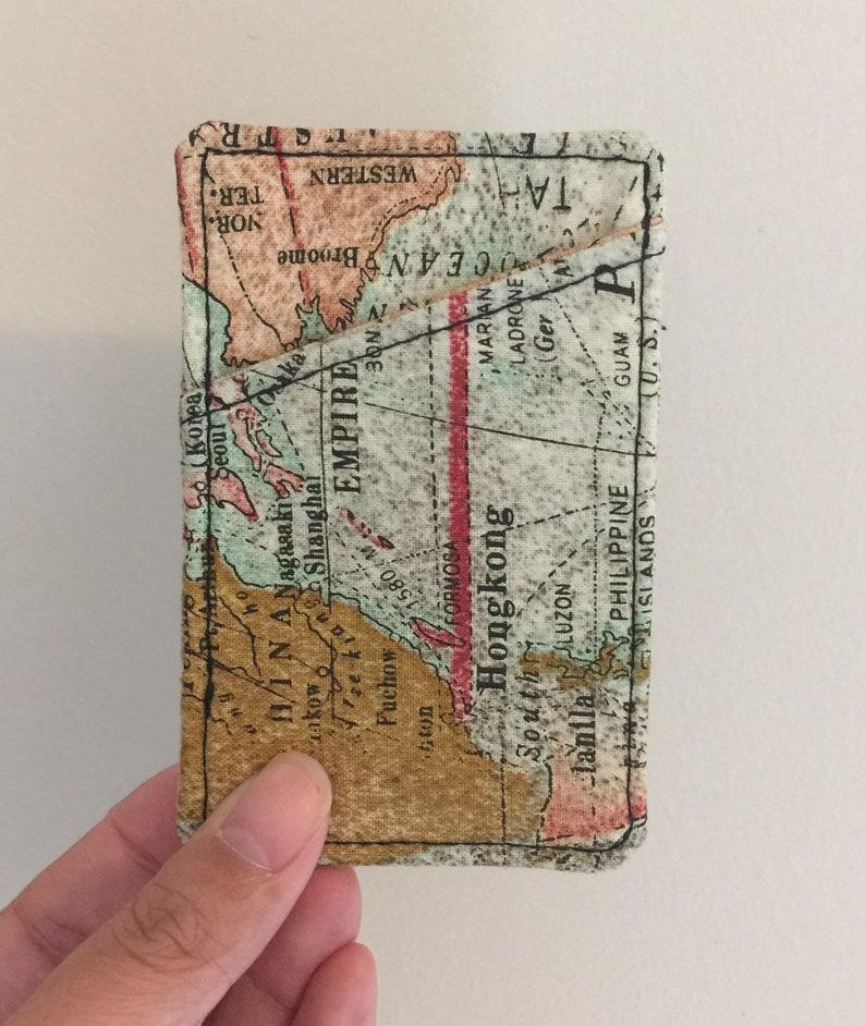 small fabri Minimalist card case Pocket card holder card case men Vegan card holder Credit card case card holder women Map card case