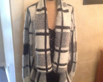 Long sweater  jacket in black and white size med