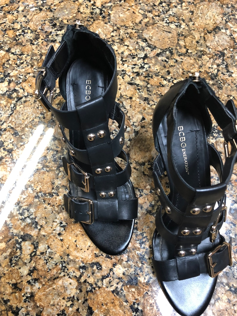 ef05804acf50 BCBGeneration Sandal with 3 1 2 heel with brass detail on
