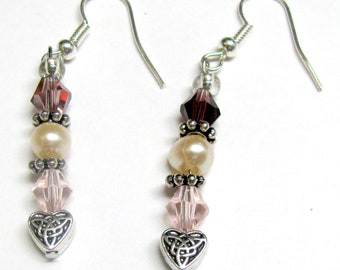 Silver Celtic Heart with Freshwater Pearl and Crystal Earrings