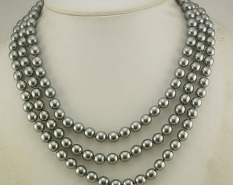 Jackie Kennedy Iconic Faux Pearl Necklace GRAY w/JBK pouch/certificate/romance card