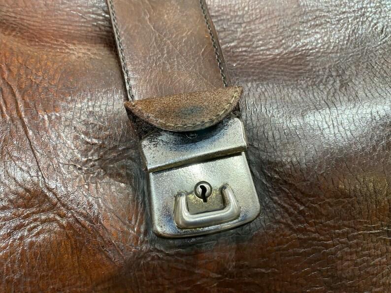 Vintage Leather Motoring Kit Bag Old Car Holdall Bag Keepall Travel Case