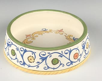 Personalized dog cat pet food porcelain bowl feeder handpainted with Italian Deruta | gift for pet owner
