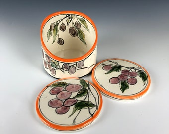 Wine cooler and coaster set Grapes handpainted