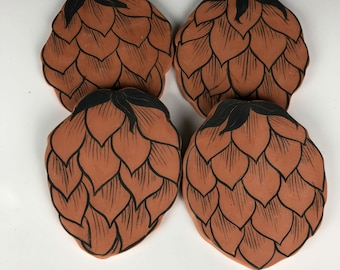 Beer Coasters terracota hops berry shape and design, Father's Day gift