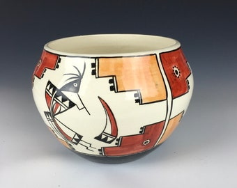 Planter or Bowl with Native American designs handpainted ceramic art