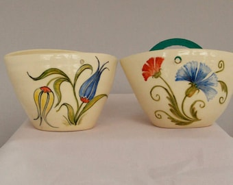 Candle holder/ Mosquito Coil holder porcelain Floral design handpainted Mother's day gift