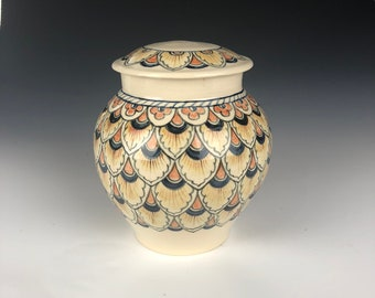 Dog cat pet cremation memorial Urn | keepsake lidded jar ceramic art handmade with Peacock Italian Deruta designs