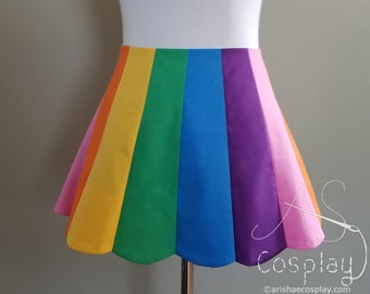 31d87ddb7e Rainbow Skirt - Skirt with Scalloped Panels in Colors of the Rainbow - Gay  Pride or LGBT Skirt - Small to Plus Sized - Lengths from 12-20