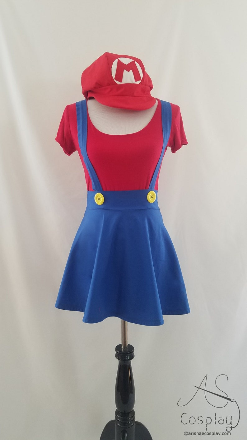 Red Shirt With Blue High Waisted Cosplay Skirt Suspenders And Etsy