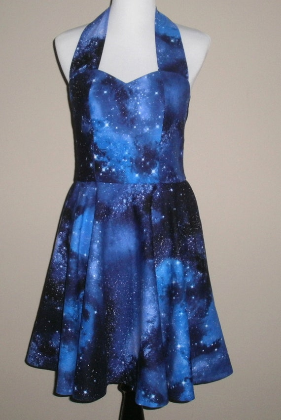 Galaxy Knee Length Halter Top Dress - Retro Style Space Dress - Celestial  Outer Space Dress - Custom Made Any Size from Petite to Plus Size