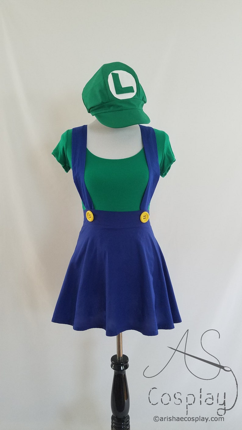 Green Shirt With Blue High Waisted Skirt Cosplay Suspenders Etsy