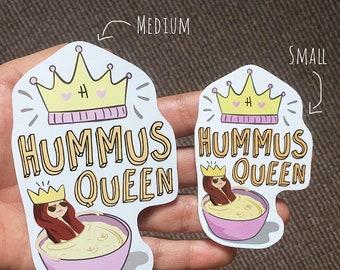 Vegan Sticker, Hummus Queen, Vegan Vinyl Sticker, Hummus Vinyl Sticker, Laptop Sticker, Vegan Gift, Hummus Lover.