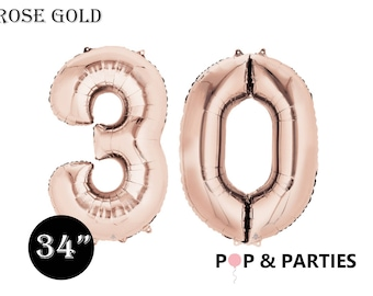 SHIPS FAST Giant Rose Gold Number 18 Balloons
