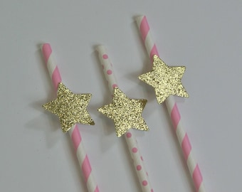 SHIPS FAST - 12 ct Twinkle Twinkle Little Star Straws, Twinkle Birthday Decorations, Gold Star Decorations, Handcrafted in 1-3 Business Days