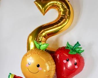 SHIPS FAST - 9 pc Fruit Balloon Bouquet, Two-ti Frutti Balloons, Two-ti Fruitti Birthday Party, Strawberry Balloon, Orange Balloon