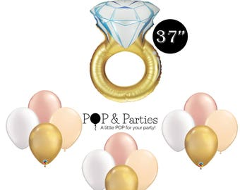 13 pc bridal shower balloons engagement party balloons bridal shower decorations rose gold white blush and gold balloons