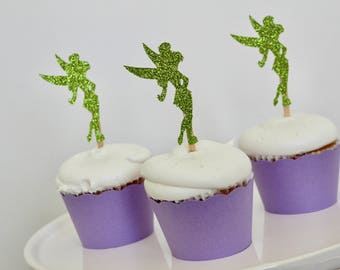 tinker bell cupcake toppers and wrappers tinker bell birthday party decorations tinkerbell party supplies tinkerbell cupcake picks