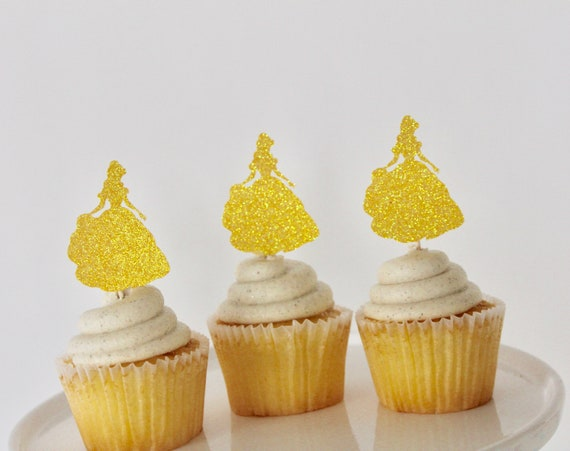 Belle Birthday Party Cupcake Toppers Belle Party Decorations Etsy Extraordinary Belle Birthday Decorations