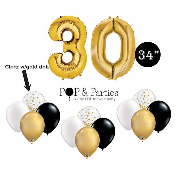 SHIPS FAST 14 Pc 30th Birthday Party Balloons Giant Number