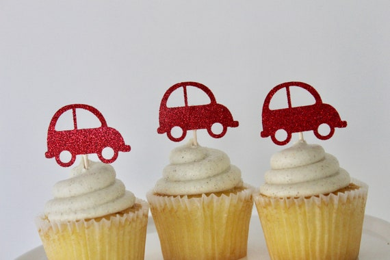 Little Red Car Cupcake Toppers Birthday Decorations