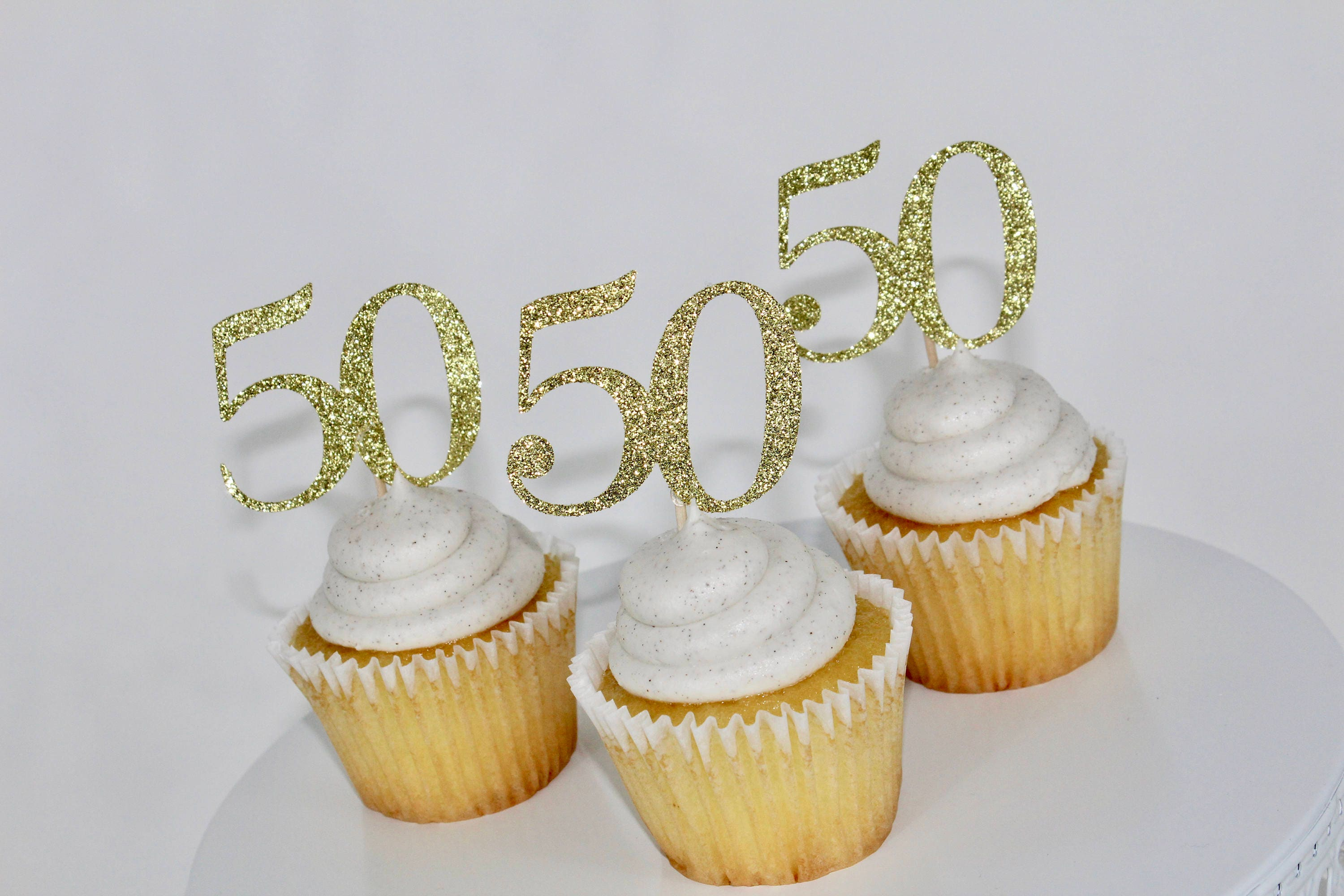 50th Birthday Cupcake Toppers Gold Glitter