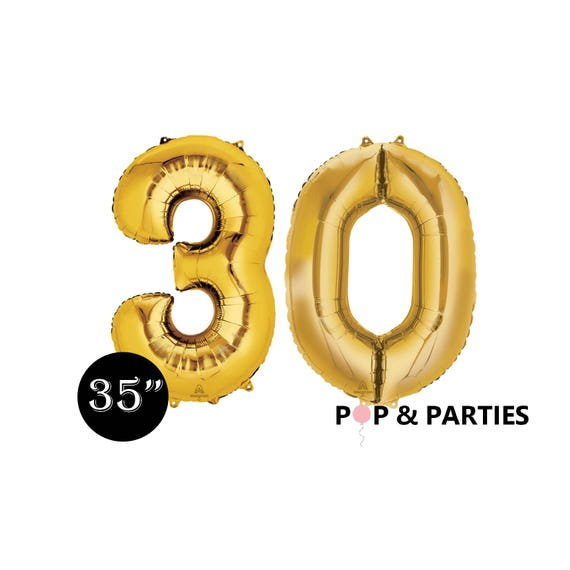 SHIPS FAST Giant Gold Number 30 Balloons 35