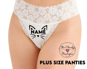 Personalized Pussy Cat White Plus Size Wide Lace Waist Thong Underwear  * FAST SHIPPING * - Sizes XL, 2XL, 3XL   Fun Underwear