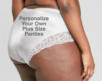 Personalize Your own Plus Size Light Gray Cheeky Panties with Lace  * FAST SHIPPING * - Sizes X, XL, 2XL, 3XL and 4XL Plus Size Lingerie