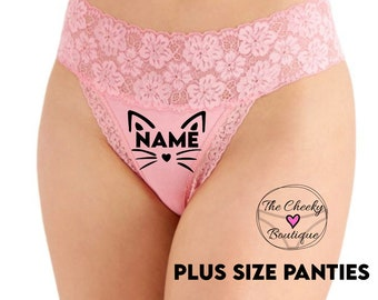 Personalized Pussy Cat Pink Plus Size Wide Lace Waist Thong Underwear  * FAST SHIPPING * - Sizes XL, 2XL, 3XL   Fun Underwear