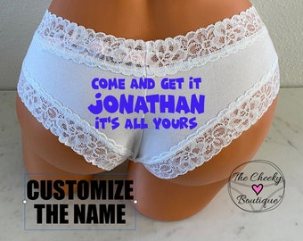 Customize Come and Get it .. It's all Yours white Victoria Secret Cheeky Panty * FAST SHIPPING * Bride | Bachelorette | Father's Day | Panty