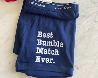 Best Bumble Match Ever | Calvin Klein Blue Personalized Boxer Briefs | FAST SHIPPING | Birthday Gift For Him | Anniversary Gift Idea