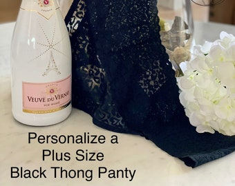 Personalized Plus Size Black Thong with Lace  * FAST SHIPPING * - Sizes X, XL, 2XL, 3XL and 4XL