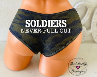 Soldiers Never Pull Out Camo Victoria Secret Ribbed Cotton Cheekster Personalized Panties * FAST SHIPPING * Military Underwear