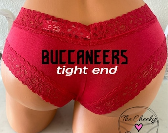 Buccaneers Tight End Red Cheeky Panty * FAST SHIPPING * Football Panties   Show them Bucs some love   Good Luck Panties   Game day panties