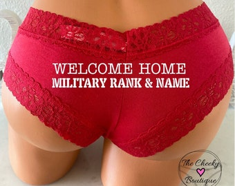 Personalize a Welcome Home Military Rank and Name Red Victoria Secret All Cotton Cheeky Panty *FAST SHIPPING* Patriotic Panties, 4th of July
