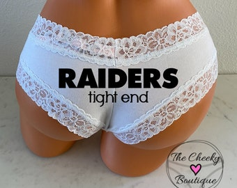Raiders Tight End white Victoria Secret All Cotton Cheeky Panty * FAST SHIPPING * Football Panties   Holiday Gift   Stocking Stuffer Idea