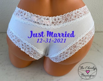Personalized Wedding Date Panties | Victoria Secret | Brides Something Blue Panties | Bridal Shower Gift | FAST SHIPPING | Wedding Lingerie