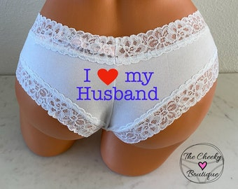 I love my husband Panties | Victoria Secret | Brides Something Blue | Bridal Shower Gift | FAST SHIPPING | Cotton Anniversary Gift