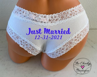 Personalized Just Married Panties | Victoria Secret | Brides Something Blue Panties | Bridal Shower Gift | FAST SHIPPING | Wedding Lingerie