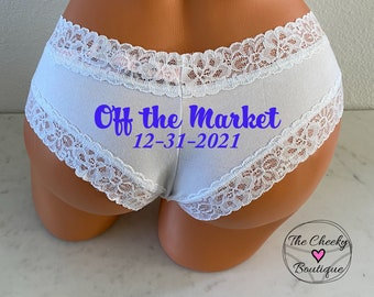 Personalized Wedding Date Panties | Brides Something Blue | Victoria Secret White All Cotton Cheeky | FAST SHIPPING | Bachelorette Gift
