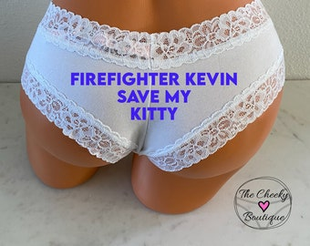 Save My Kitty   Victoria Secret   Custom Firefighter Gift   Firefighter Husband   FAST SHIPPING   Firefighter Wife   Fireman Gift   Panties