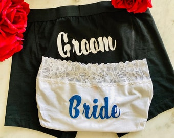 Calvin Klein and Victoria Secret Couples Bride and Groom Underwear | Personalized Boxer Briefs | Personalized Panties | FAST & FREE SHIPPING