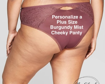 Personalized Plus Size Panty | Burgundy Mist Cheeky with Lace  * FAST SHIPPING * - Sizes X, XL, 2XL, 3XL and 4XL