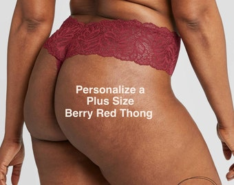 Personalized Plus Size Berry Red Thong with Lace  * FAST SHIPPING * - Sizes X, XL, 2XL, 3XL and 4XL