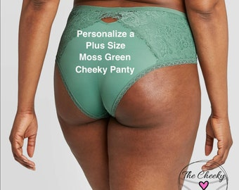 Personalized Plus Size Panty | Moss Green Cheeky with Lace  * FAST SHIPPING * - Sizes X, XL, 2XL, 3XL and 4XL