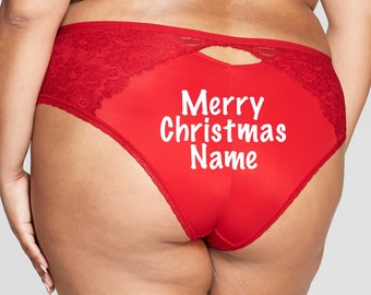 Merry Christmas Personalized red Plus Size cheeky panty *Fast Shipping*  Holiday Gift, Funny Christmas Gift, Stocking Stuffer
