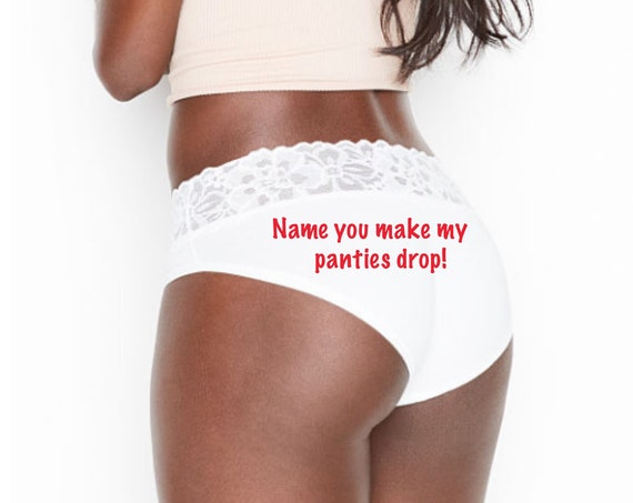 You make my panties drop personalized white Victoria Secret Stretch Cotton Lace-waist High-leg Brief Panty *FAST SHIPPING*