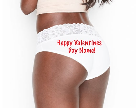 Happy Valentine's Day personalized white Victoria Secret Stretch Cotton Lace-waist High-leg Brief Panty *FAST SHIPPING*