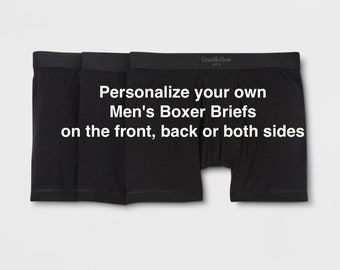 Personalize your own Men's Boxer Briefs | FAST SHIPPING | Men's Personalized Underwear | Gift for Husband | Gift for Wife | Gift for Him